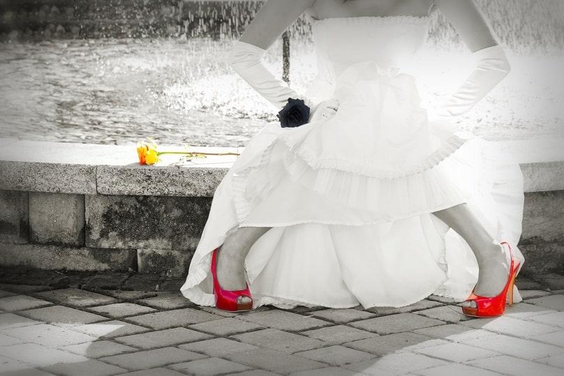 Bruid, bewerkt, special effect, photoshop, pumps