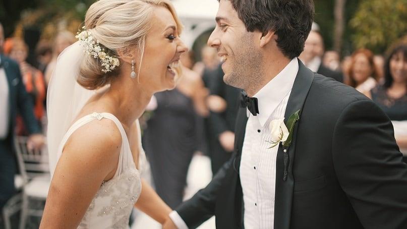 Bruiloft, echtpaar net getrouwd