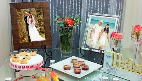 Receptie bruiloft - aankleding, decoratie, hapjes