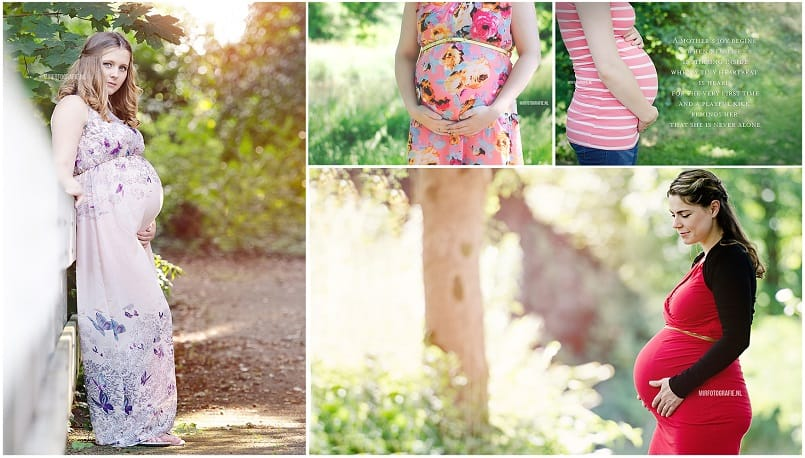 Zwangerschaps fotoshoot Drenthe - Mirfotografie, bolle buik in het bos