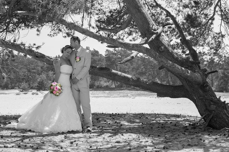 trouwfotograaf-almere-flevoland-bruidspaar-in-het-bos