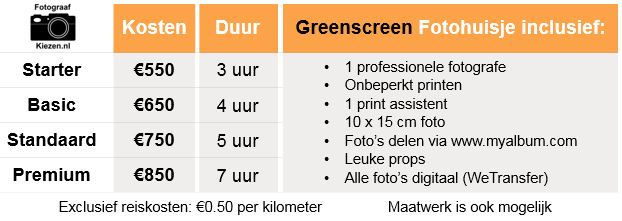 greenscreen fotohokje huren kosten
